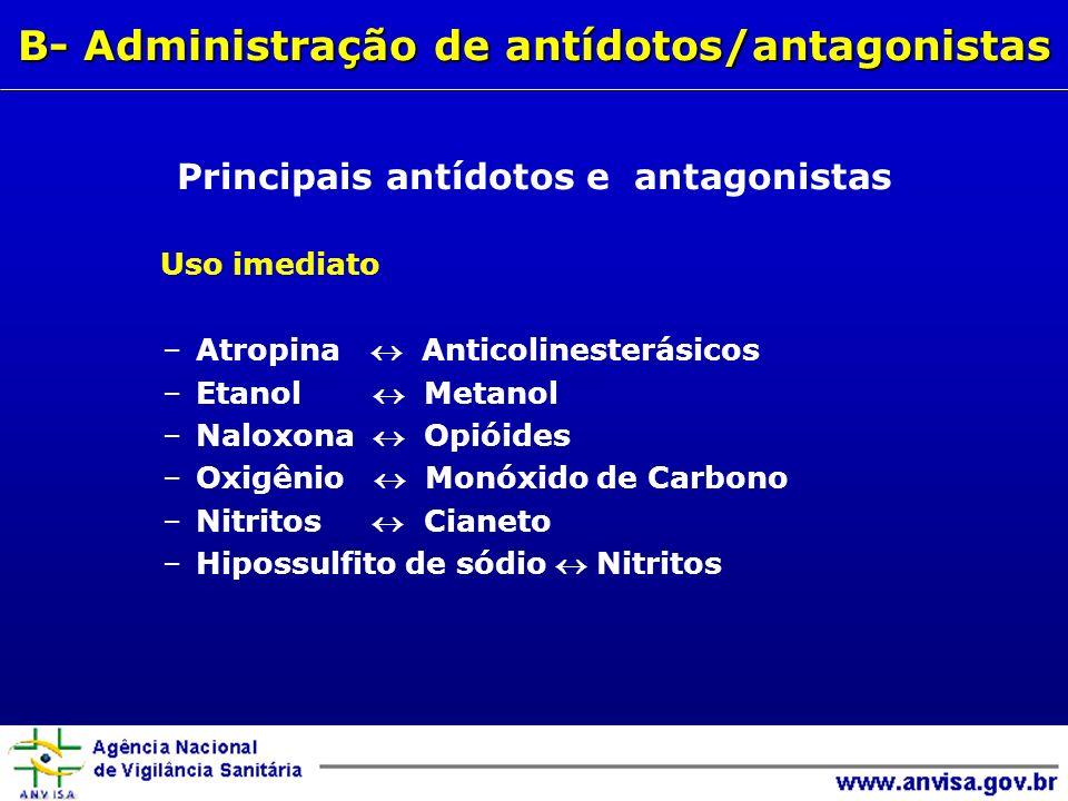 Uso imediato –Atropina Anticolinesterásicos –Etanol Metanol –Naloxona Opióides –Oxigênio Monóxido de Carbono –Nitritos Cianeto –Hipossulfito de sódio Nitritos Principais antídotos e antagonistas B- Administração de antídotos/antagonistas