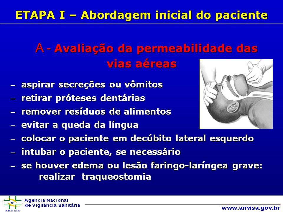 B- Avaliação da respiração B- Avaliação da respiração - avaliar se o paciente respira normalmente - avaliar se o paciente respira normalmente - administrar oxigênio, se necessário - administrar oxigênio, se necessário Sinais de oxigenação inadequada: Sinais de oxigenação inadequada: cianose cianose taquipnéia taquipnéia hipoventilação hipoventilação transpiração transpiração retração supraesternal e intercostal retração supraesternal e intercostal alteração do estado mental alteração do estado mental ETAPA I – Abordagem inicial do paciente