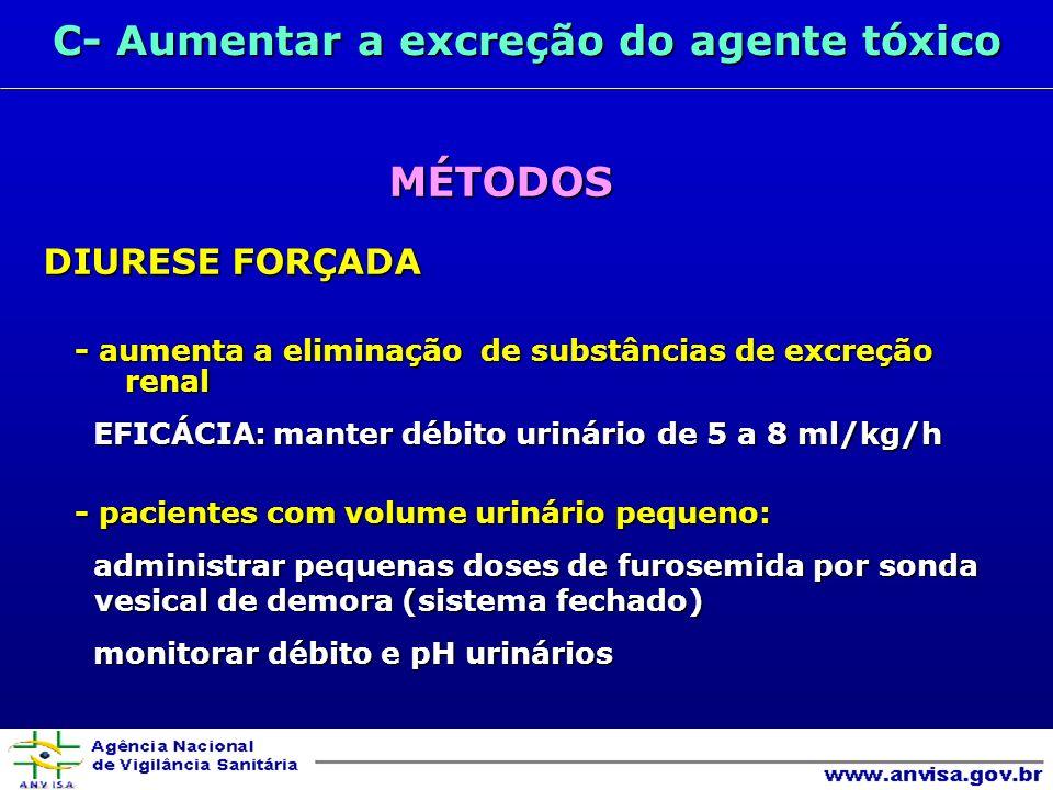 C- Aumentar a excreção do agente tóxico MÉTODOS MÉTODOS DIURESE FORÇADA - aumenta a eliminação de substâncias de excreção renal EFICÁCIA: manter débito urinário de 5 a 8 ml/kg/h EFICÁCIA: manter débito urinário de 5 a 8 ml/kg/h - pacientes com volume urinário pequeno: administrar pequenas doses de furosemida por sonda vesical de demora (sistema fechado) administrar pequenas doses de furosemida por sonda vesical de demora (sistema fechado) monitorar débito e pH urinários monitorar débito e pH urinários