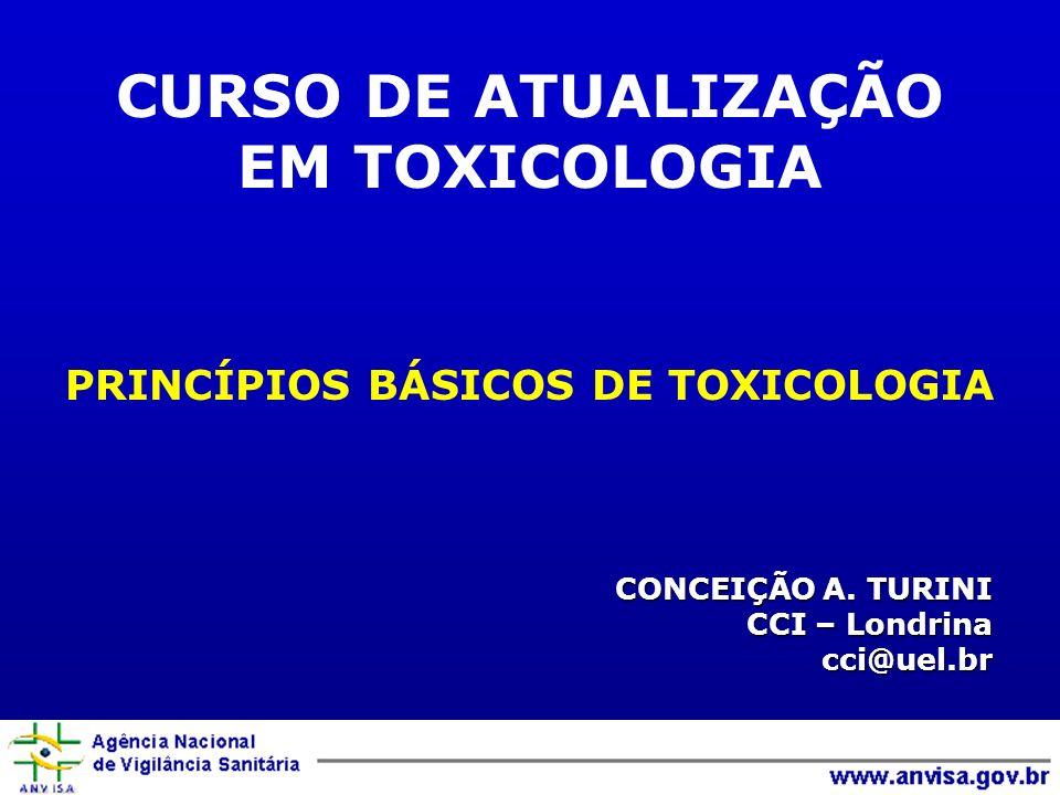 CONCEIÇÃO A. TURINI CCI – Londrina cci@uel.br PRINCÍPIOS BÁSICOS DE TOXICOLOGIA CURSO DE ATUALIZAÇÃO EM TOXICOLOGIA