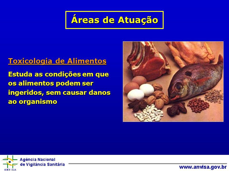Toxicologia de Alimentos Estuda as condições em que os alimentos podem ser ingeridos, sem causar danos ao organismo Áreas de Atuação