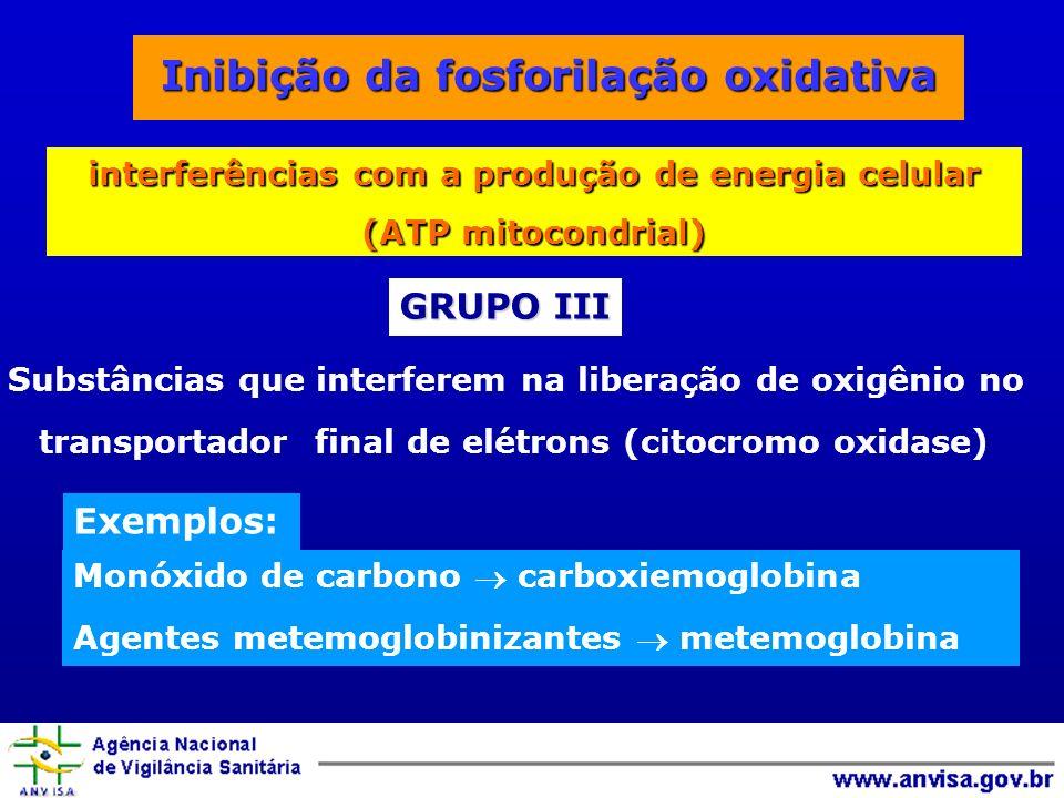 Substâncias que interferem na liberação de oxigênio no transportador final de elétrons (citocromo oxidase) Exemplos: Monóxido de carbono carboxiemoglobina Agentes metemoglobinizantes metemoglobina GRUPO III interferências com a produção de energia celular (ATP mitocondrial)