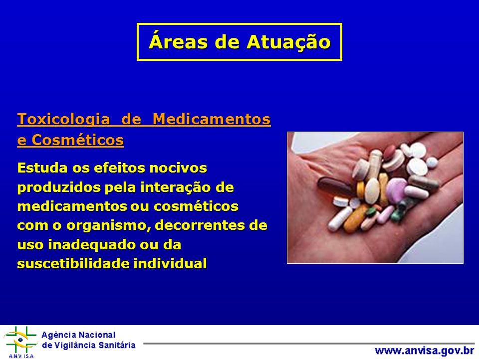 Toxicologia de Medicamentos e Cosméticos Estuda os efeitos nocivos produzidos pela interação de medicamentos ou cosméticos com o organismo, decorrentes de uso inadequado ou da suscetibilidade individual Áreas de Atuação