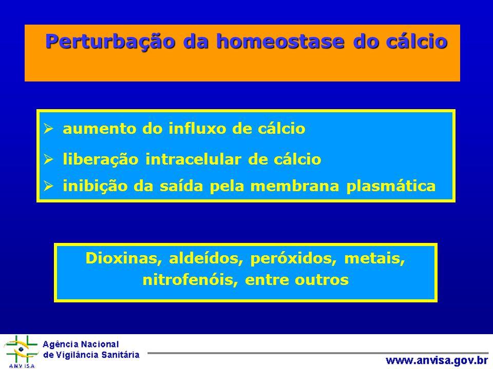 Perturbação da homeostase do cálcio Perturbação da homeostase do cálcio aumento do influxo de cálcio liberação intracelular de cálcio inibição da saída pela membrana plasmática Dioxinas, aldeídos, peróxidos, metais, nitrofenóis, entre outros