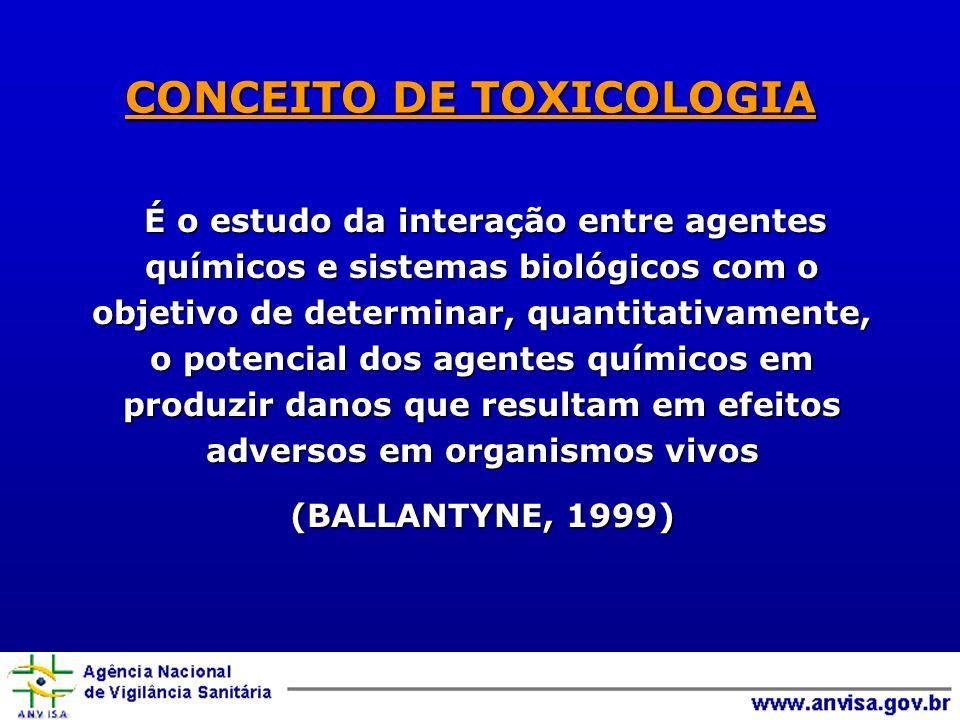 CONCEITO DE TOXICOLOGIA É o estudo da interação entre agentes químicos e sistemas biológicos com o objetivo de determinar, quantitativamente, o potenc