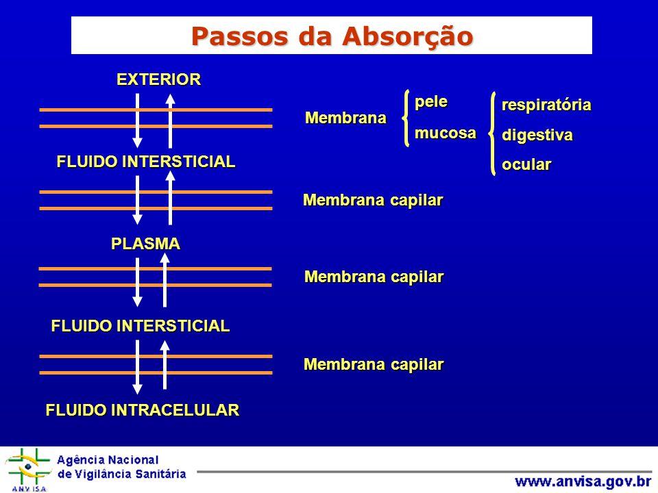EXTERIOR FLUIDO INTERSTICIAL PLASMA FLUIDO INTRACELULAR respiratóriadigestivaocularpelemucosaMembrana Membrana capilar Membrana capilar Membrana capilar Passos da Absorção