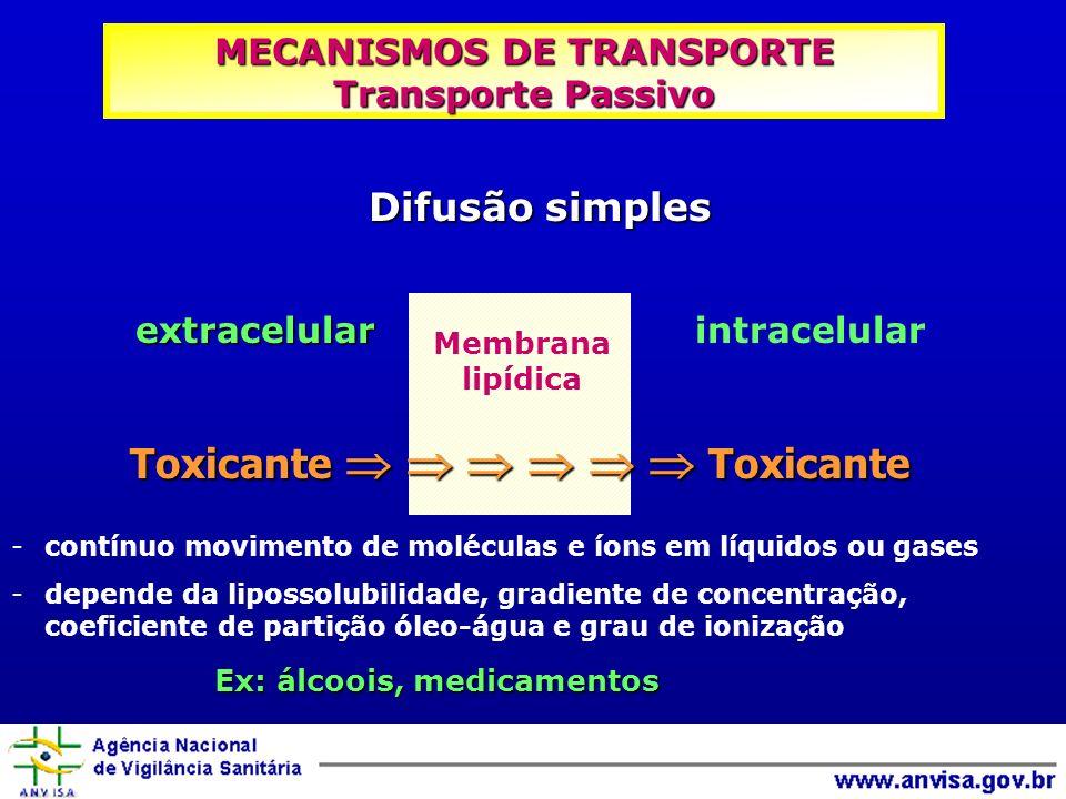 MECANISMOS DE TRANSPORTE Transporte Passivo -contínuo movimento de moléculas e íons em líquidos ou gases -depende da lipossolubilidade, gradiente de c