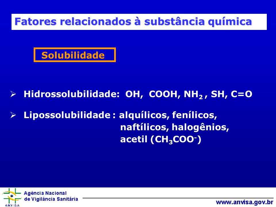 Hidrossolubilidade: OH, COOH, NH 2, SH, C=O Lipossolubilidade : alquílicos, fenílicos, naftílicos, halogênios, acetil (CH 3 COO - ) Solubilidade Fatores relacionados à substância química