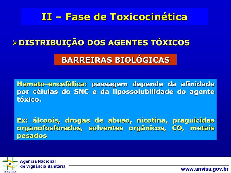 II – Fase de Toxicocinética DISTRIBUIÇÃO DOS AGENTES TÓXICOS DISTRIBUIÇÃO DOS AGENTES TÓXICOS BARREIRAS BIOLÓGICAS Hemato-encefálica: passagem depende da afinidade por células do SNC e da lipossolubilidade do agente tóxico.
