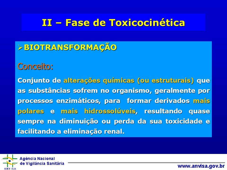 II – Fase de Toxicocinética BIOTRANSFORMAÇÃO BIOTRANSFORMAÇÃOConceito: Conjunto de alterações químicas (ou estruturais) que as substâncias sofrem no o