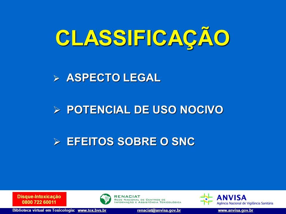 Disque-Intoxicação 0800 722 60011 Biblioteca virtual em Toxicologia: www.tox.bvs.brwww.anvisa.gov.brrenaciat@anvisa.gov.br CLASSIFICAÇÃO ASPECTO LEGAL