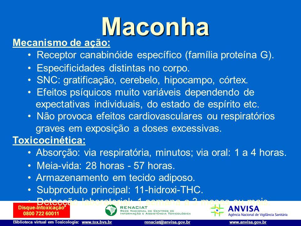 Disque-Intoxicação 0800 722 60011 Biblioteca virtual em Toxicologia: www.tox.bvs.brwww.anvisa.gov.brrenaciat@anvisa.gov.br Maconha Mecanismo de ação: