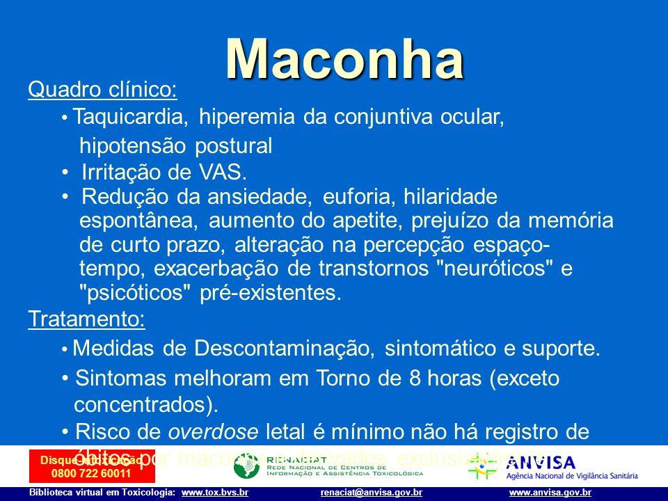 Disque-Intoxicação 0800 722 60011 Biblioteca virtual em Toxicologia: www.tox.bvs.brwww.anvisa.gov.brrenaciat@anvisa.gov.br Maconha Quadro clínico: Taq