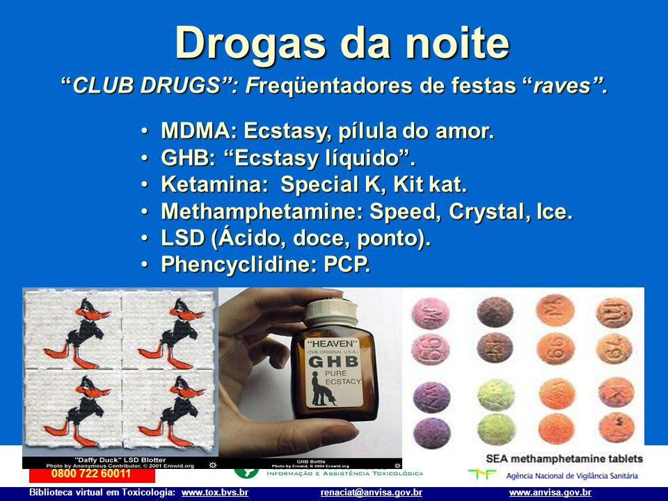 Disque-Intoxicação 0800 722 60011 Biblioteca virtual em Toxicologia: www.tox.bvs.brwww.anvisa.gov.brrenaciat@anvisa.gov.br Drogas da noite CLUB DRUGS: