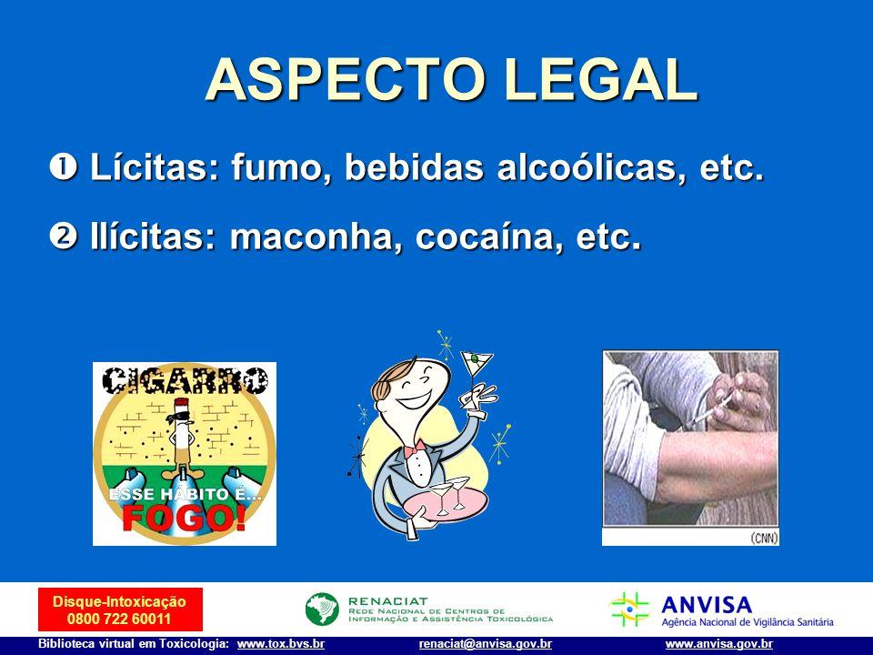 Disque-Intoxicação 0800 722 60011 Biblioteca virtual em Toxicologia: www.tox.bvs.brwww.anvisa.gov.brrenaciat@anvisa.gov.br ASPECTO LEGAL Lícitas: fumo
