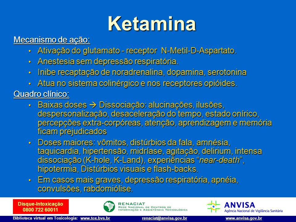 Disque-Intoxicação 0800 722 60011 Biblioteca virtual em Toxicologia: www.tox.bvs.brwww.anvisa.gov.brrenaciat@anvisa.gov.br Mecanismo de ação: Ativação