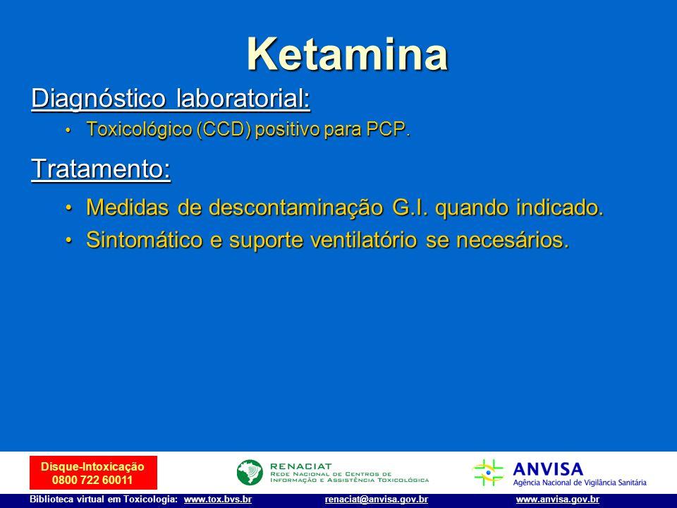 Disque-Intoxicação 0800 722 60011 Biblioteca virtual em Toxicologia: www.tox.bvs.brwww.anvisa.gov.brrenaciat@anvisa.gov.br Diagnóstico laboratorial: T