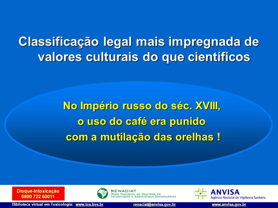 Disque-Intoxicação 0800 722 60011 Biblioteca virtual em Toxicologia: www.tox.bvs.brwww.anvisa.gov.brrenaciat@anvisa.gov.br No Império russo do séc. XV