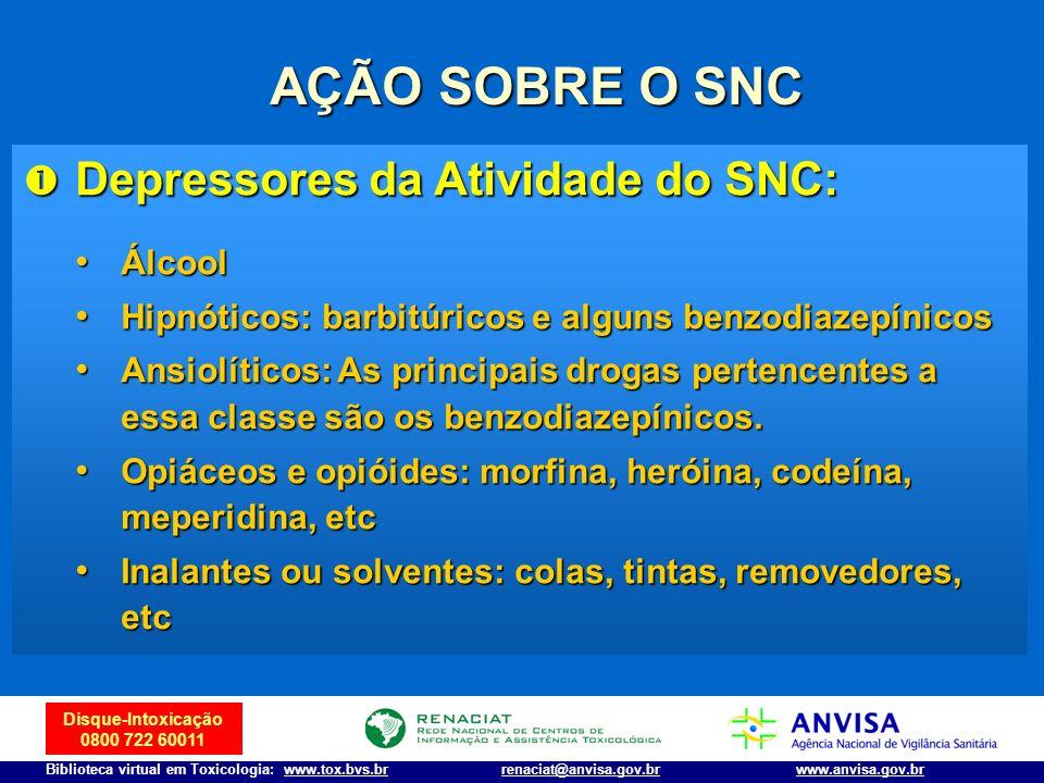 Disque-Intoxicação 0800 722 60011 Biblioteca virtual em Toxicologia: www.tox.bvs.brwww.anvisa.gov.brrenaciat@anvisa.gov.br AÇÃO SOBRE O SNC Depressore