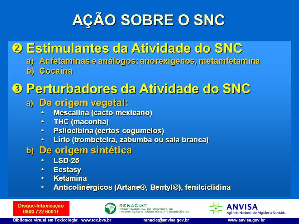 Disque-Intoxicação 0800 722 60011 Biblioteca virtual em Toxicologia: www.tox.bvs.brwww.anvisa.gov.brrenaciat@anvisa.gov.br AÇÃO SOBRE O SNC Estimulant