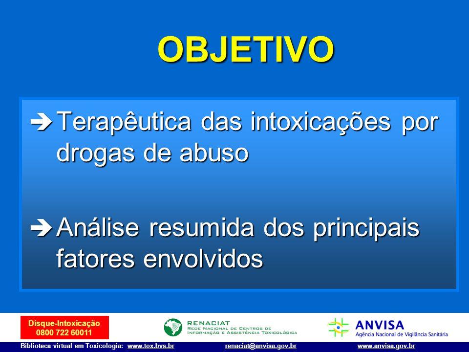 Disque-Intoxicação 0800 722 60011 Biblioteca virtual em Toxicologia: www.tox.bvs.brwww.anvisa.gov.brrenaciat@anvisa.gov.br Cocaína : tratamento Síndrome coronariana aguda/hipertensão/taquicardia Primeira linha: Primeira linha: Oxigênio Oxigênio Aspirina Aspirina Benzodiazepínicos (Guidelines - Classe IIa) – 5-10 mg IV, a cada 5-10 min Benzodiazepínicos (Guidelines - Classe IIa) – 5-10 mg IV, a cada 5-10 min Nitroglicerina (Guidelines – Classe IIa) - 50 mg/250 ml SG 5% IV (5 a 100 µg/min) Nitroglicerina (Guidelines – Classe IIa) - 50 mg/250 ml SG 5% IV (5 a 100 µg/min)