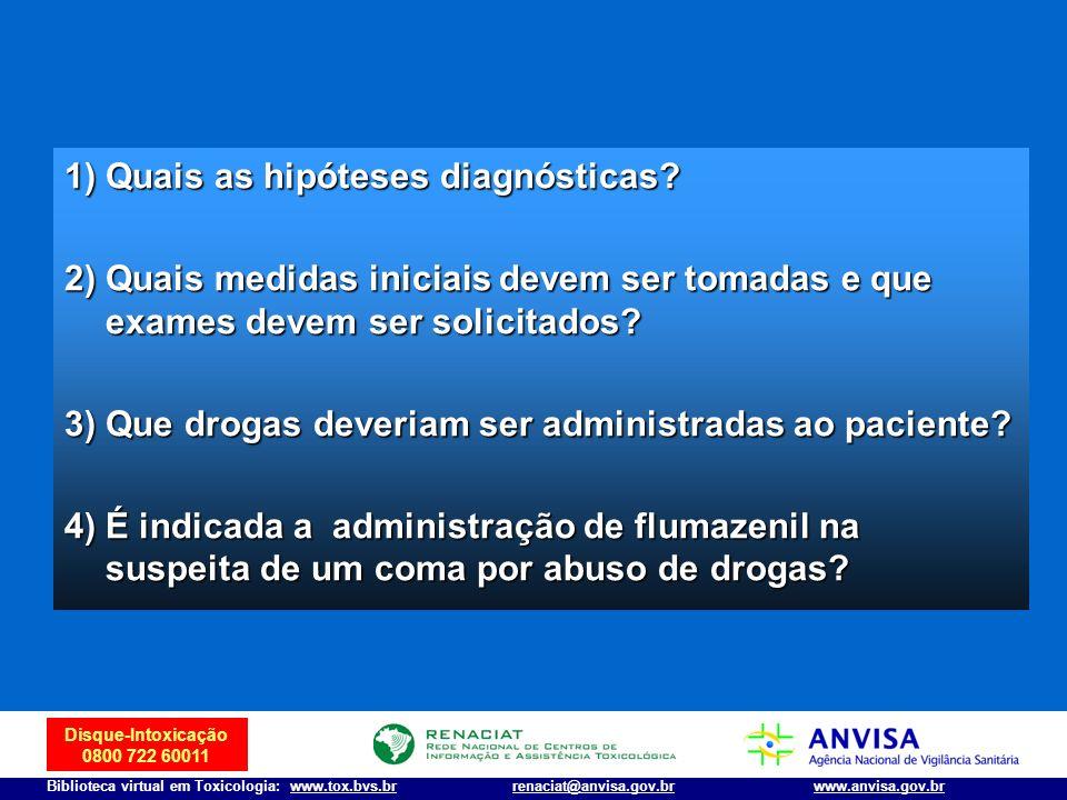 Disque-Intoxicação 0800 722 60011 Biblioteca virtual em Toxicologia: www.tox.bvs.brwww.anvisa.gov.brrenaciat@anvisa.gov.br 1) Quais as hipóteses diagn