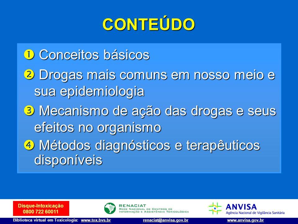 Disque-Intoxicação 0800 722 60011 Biblioteca virtual em Toxicologia: www.tox.bvs.brwww.anvisa.gov.brrenaciat@anvisa.gov.br Conceitos básicos Conceitos