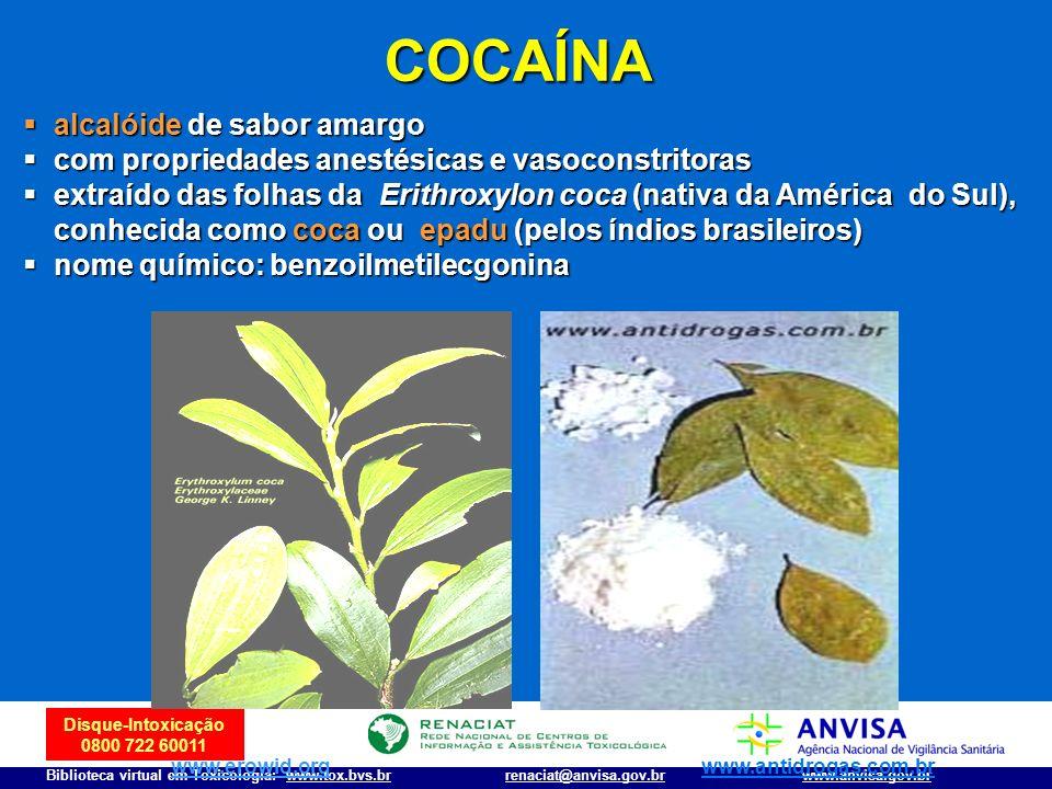 Disque-Intoxicação 0800 722 60011 Biblioteca virtual em Toxicologia: www.tox.bvs.brwww.anvisa.gov.brrenaciat@anvisa.gov.br COCAÍNA alcalóide de sabor