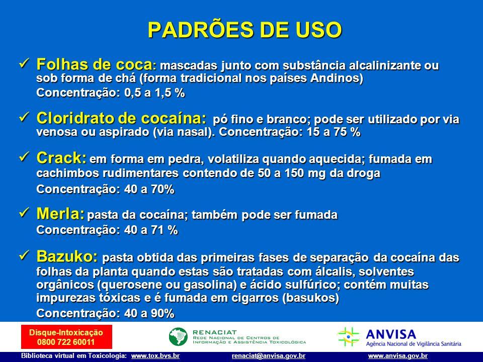 Disque-Intoxicação 0800 722 60011 Biblioteca virtual em Toxicologia: www.tox.bvs.brwww.anvisa.gov.brrenaciat@anvisa.gov.br PADRÕES DE USO Folhas de co