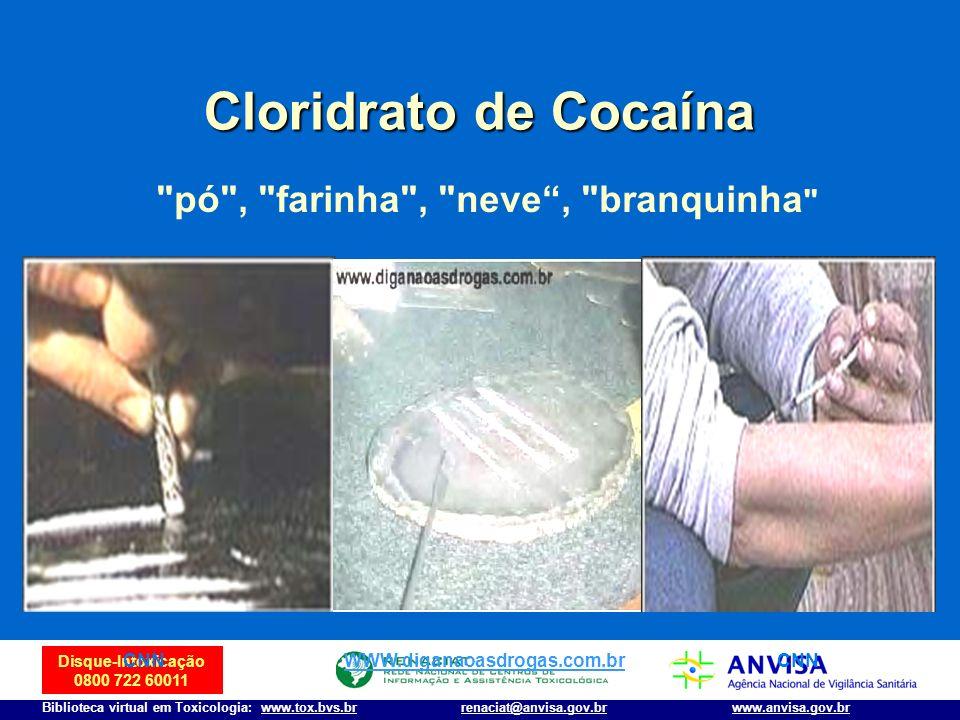 Disque-Intoxicação 0800 722 60011 Biblioteca virtual em Toxicologia: www.tox.bvs.brwww.anvisa.gov.brrenaciat@anvisa.gov.br Cloridrato de Cocaína