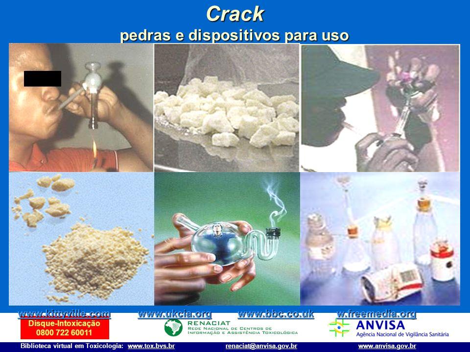 Disque-Intoxicação 0800 722 60011 Biblioteca virtual em Toxicologia: www.tox.bvs.brwww.anvisa.gov.brrenaciat@anvisa.gov.br Crack pedras e dispositivos
