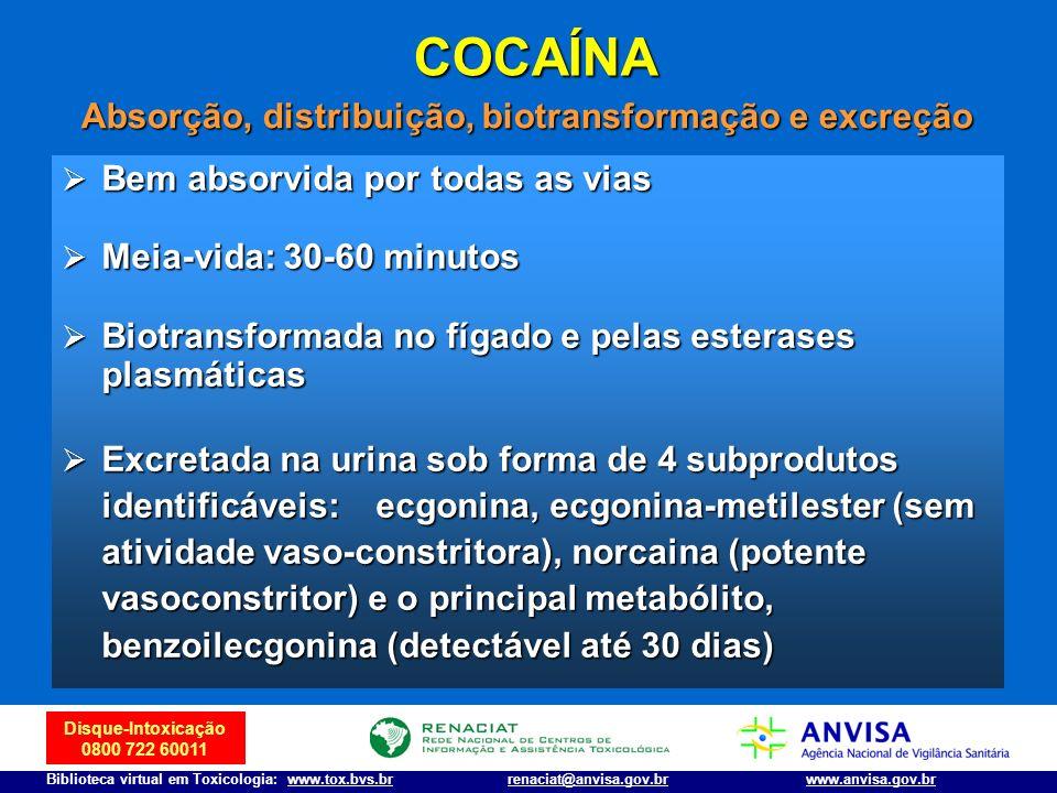 Disque-Intoxicação 0800 722 60011 Biblioteca virtual em Toxicologia: www.tox.bvs.brwww.anvisa.gov.brrenaciat@anvisa.gov.br COCAÍNA Bem absorvida por t