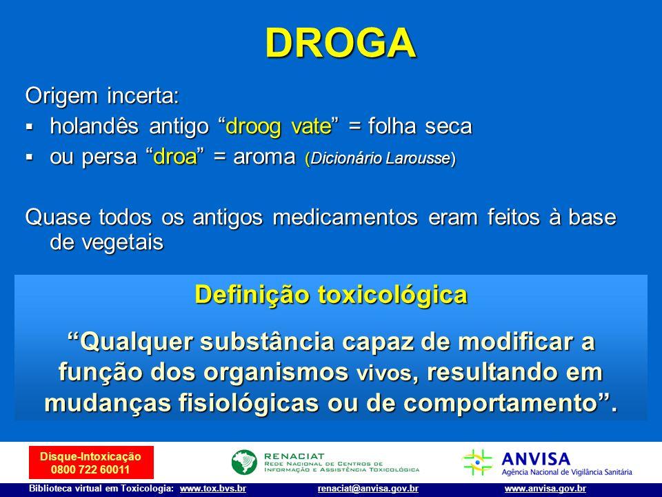 Disque-Intoxicação 0800 722 60011 Biblioteca virtual em Toxicologia: www.tox.bvs.brwww.anvisa.gov.brrenaciat@anvisa.gov.br DROGA DROGA Origem incerta: