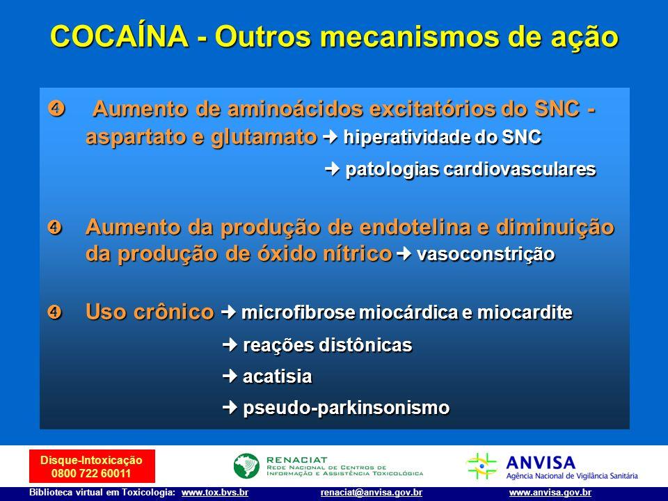 Disque-Intoxicação 0800 722 60011 Biblioteca virtual em Toxicologia: www.tox.bvs.brwww.anvisa.gov.brrenaciat@anvisa.gov.br COCAÍNA - Outros mecanismos