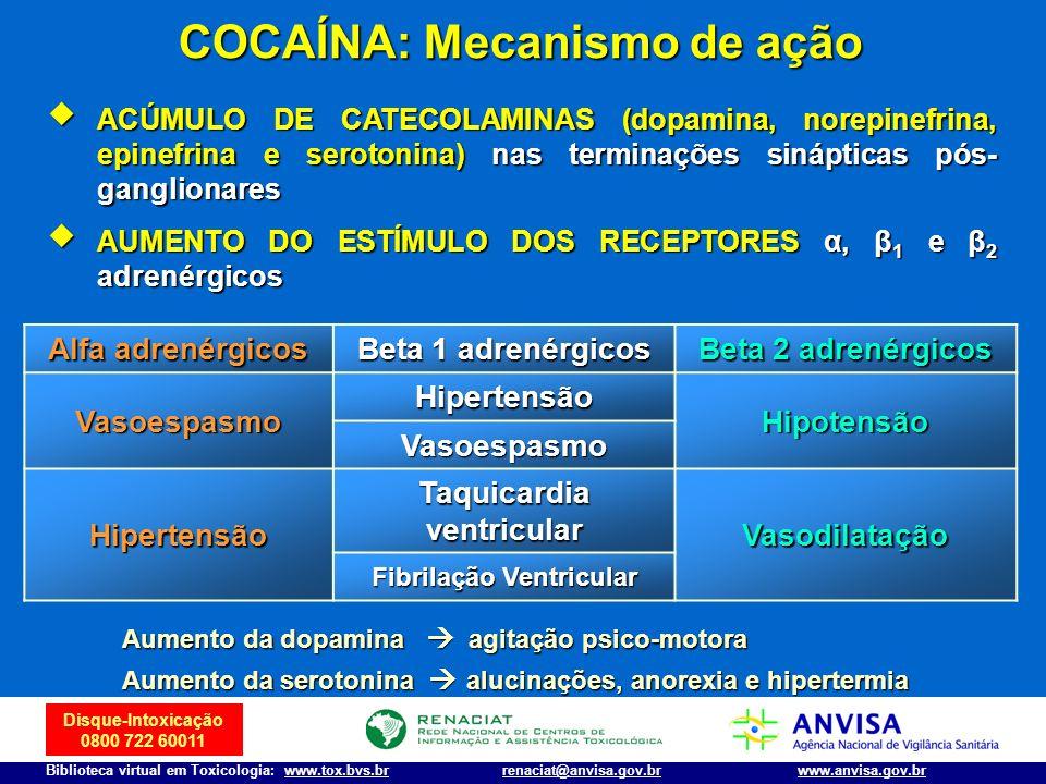 Disque-Intoxicação 0800 722 60011 Biblioteca virtual em Toxicologia: www.tox.bvs.brwww.anvisa.gov.brrenaciat@anvisa.gov.br COCAÍNA: Mecanismo de ação