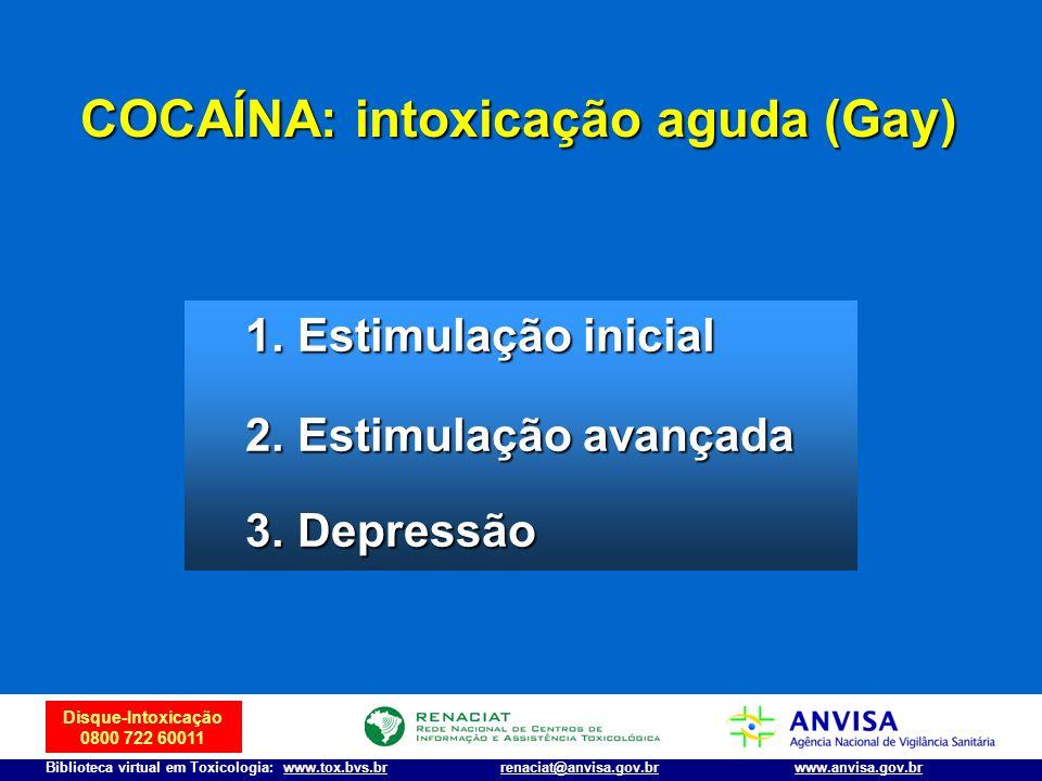 Disque-Intoxicação 0800 722 60011 Biblioteca virtual em Toxicologia: www.tox.bvs.brwww.anvisa.gov.brrenaciat@anvisa.gov.br COCAÍNA: intoxicação aguda