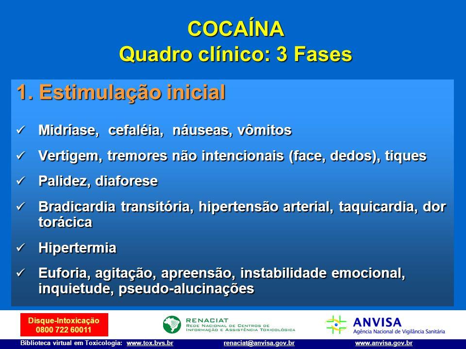 Disque-Intoxicação 0800 722 60011 Biblioteca virtual em Toxicologia: www.tox.bvs.brwww.anvisa.gov.brrenaciat@anvisa.gov.br COCAÍNA Quadro clínico: 3 F