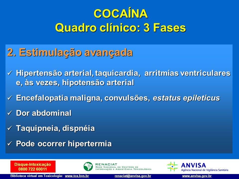 Disque-Intoxicação 0800 722 60011 Biblioteca virtual em Toxicologia: www.tox.bvs.brwww.anvisa.gov.brrenaciat@anvisa.gov.br 2. Estimulação avançada Hip