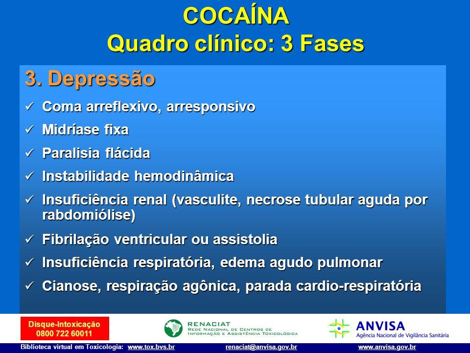 Disque-Intoxicação 0800 722 60011 Biblioteca virtual em Toxicologia: www.tox.bvs.brwww.anvisa.gov.brrenaciat@anvisa.gov.br 3. Depressão Coma arreflexi
