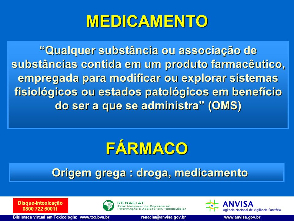 Disque-Intoxicação 0800 722 60011 Biblioteca virtual em Toxicologia: www.tox.bvs.brwww.anvisa.gov.brrenaciat@anvisa.gov.br AÇÃO SOBRE O SNC Estimulantes da Atividade do SNC Estimulantes da Atividade do SNC a)Anfetaminas e análogos: anorexígenos, metamfetamina b)Cocaína Perturbadores da Atividade do SNC Perturbadores da Atividade do SNC a) De origem vegetal: Mescalina (cacto mexicano) Mescalina (cacto mexicano) THC (maconha) THC (maconha) Psilocibina (certos cogumelos) Psilocibina (certos cogumelos) Lírio (trombeteira, zabumba ou saia branca) Lírio (trombeteira, zabumba ou saia branca) b) De origem sintética LSD-25 LSD-25 Ecstasy Ecstasy Ketamina Ketamina Anticolinérgicos (Artane®, Bentyl®), fenilciclidina Anticolinérgicos (Artane®, Bentyl®), fenilciclidina