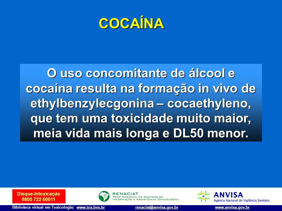 Disque-Intoxicação 0800 722 60011 Biblioteca virtual em Toxicologia: www.tox.bvs.brwww.anvisa.gov.brrenaciat@anvisa.gov.br O uso concomitante de álcoo