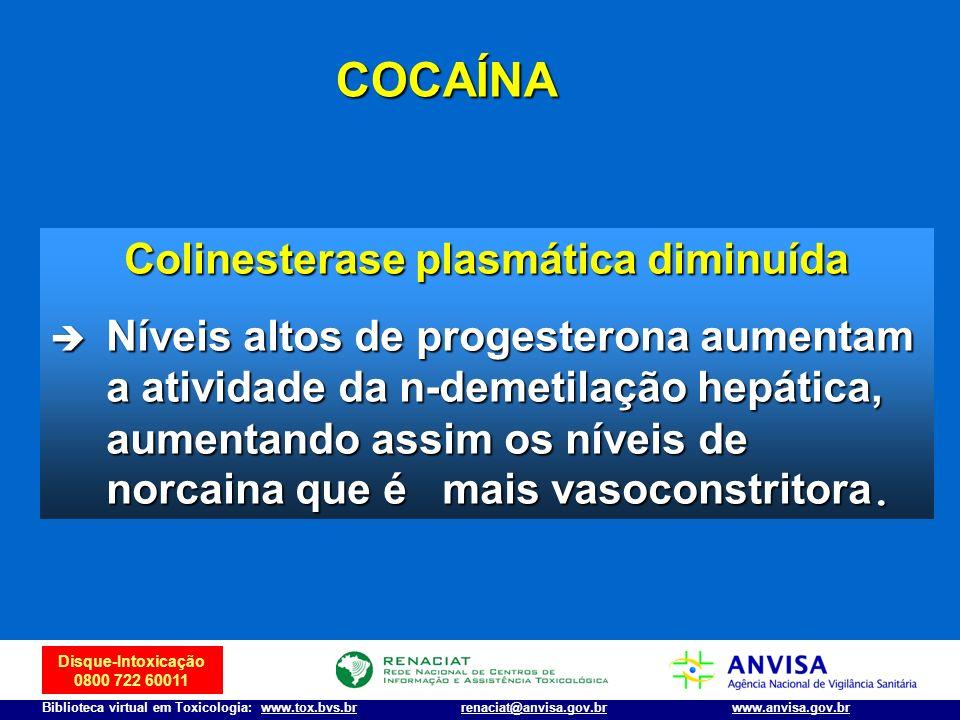 Disque-Intoxicação 0800 722 60011 Biblioteca virtual em Toxicologia: www.tox.bvs.brwww.anvisa.gov.brrenaciat@anvisa.gov.br Colinesterase plasmática di