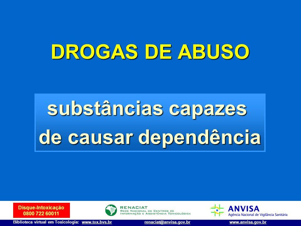 Disque-Intoxicação 0800 722 60011 Biblioteca virtual em Toxicologia: www.tox.bvs.brwww.anvisa.gov.brrenaciat@anvisa.gov.br PERTURBADORES DA ATIVIDADE DO SNC THC (maconha), anticolinérgicos, Ecstasy, ketamina, LSD-25 Club Drugs, Date-rape Drugs