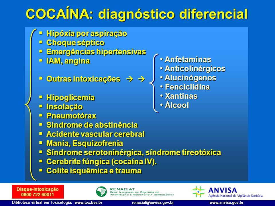Disque-Intoxicação 0800 722 60011 Biblioteca virtual em Toxicologia: www.tox.bvs.brwww.anvisa.gov.brrenaciat@anvisa.gov.br COCAÍNA: diagnóstico difere