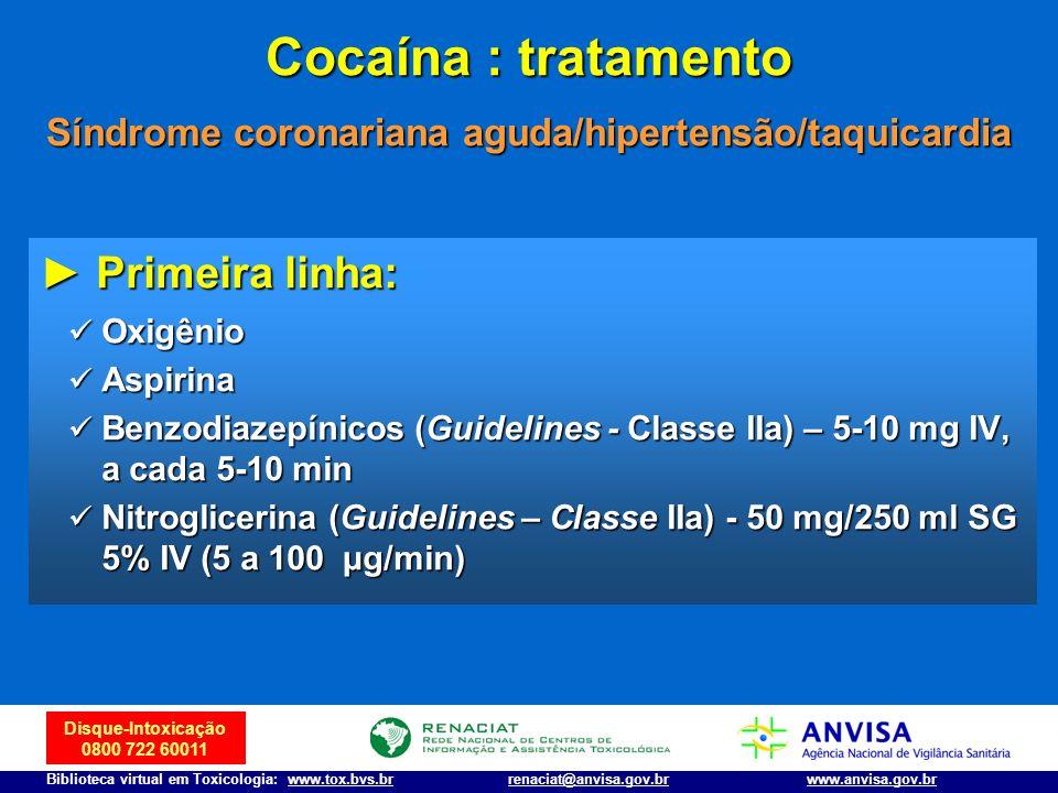 Disque-Intoxicação 0800 722 60011 Biblioteca virtual em Toxicologia: www.tox.bvs.brwww.anvisa.gov.brrenaciat@anvisa.gov.br Cocaína : tratamento Síndro