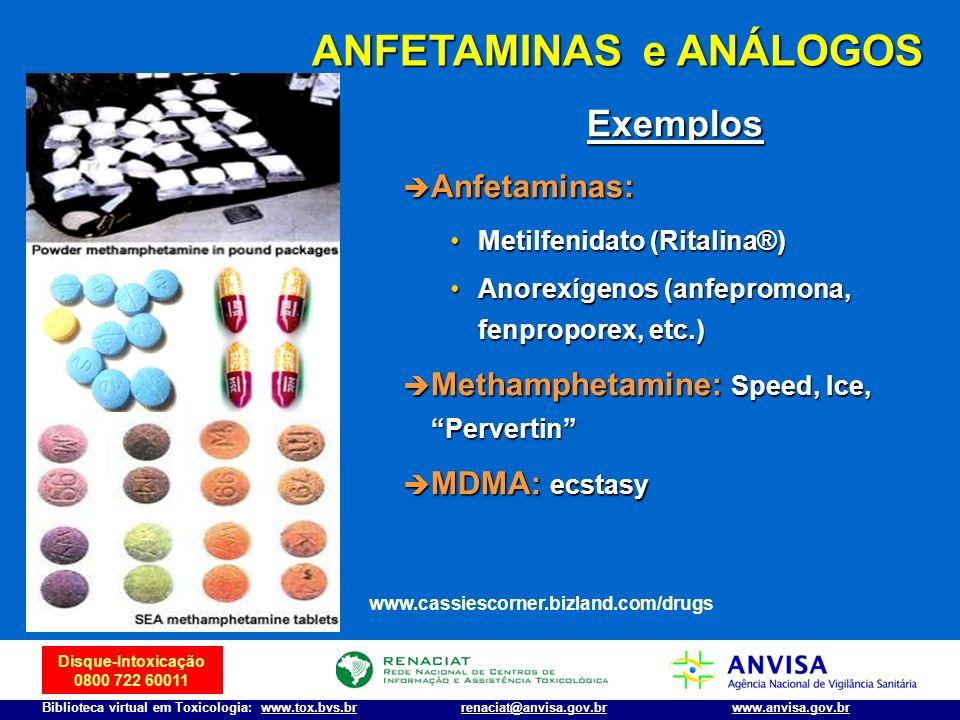 Disque-Intoxicação 0800 722 60011 Biblioteca virtual em Toxicologia: www.tox.bvs.brwww.anvisa.gov.brrenaciat@anvisa.gov.br ANFETAMINAS e ANÁLOGOS www.