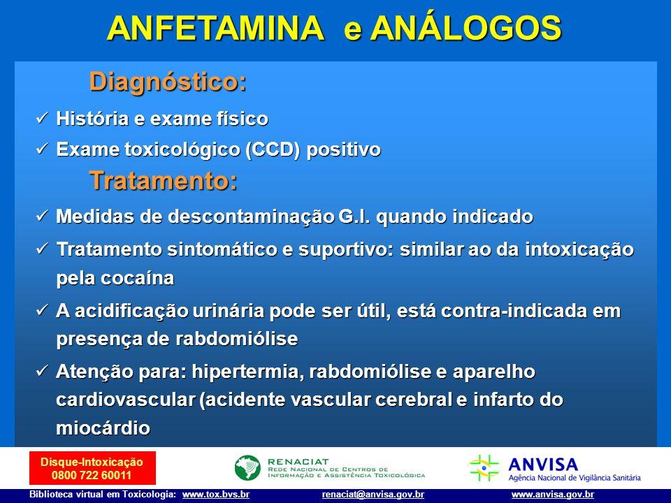 Disque-Intoxicação 0800 722 60011 Biblioteca virtual em Toxicologia: www.tox.bvs.brwww.anvisa.gov.brrenaciat@anvisa.gov.br Diagnóstico: História e exa