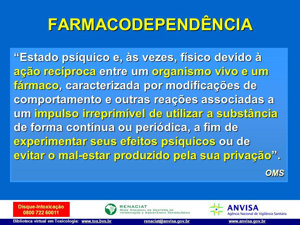 Disque-Intoxicação 0800 722 60011 Biblioteca virtual em Toxicologia: www.tox.bvs.brwww.anvisa.gov.brrenaciat@anvisa.gov.br FARMACODEPENDÊNCIA Estado p