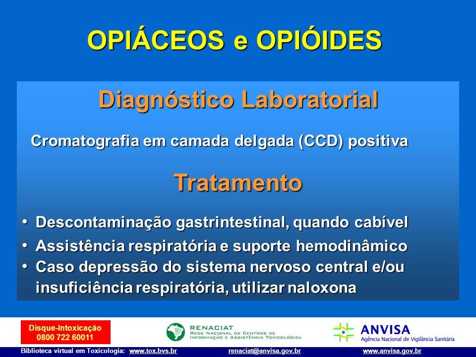 Disque-Intoxicação 0800 722 60011 Biblioteca virtual em Toxicologia: www.tox.bvs.brwww.anvisa.gov.brrenaciat@anvisa.gov.br Diagnóstico Laboratorial Cr