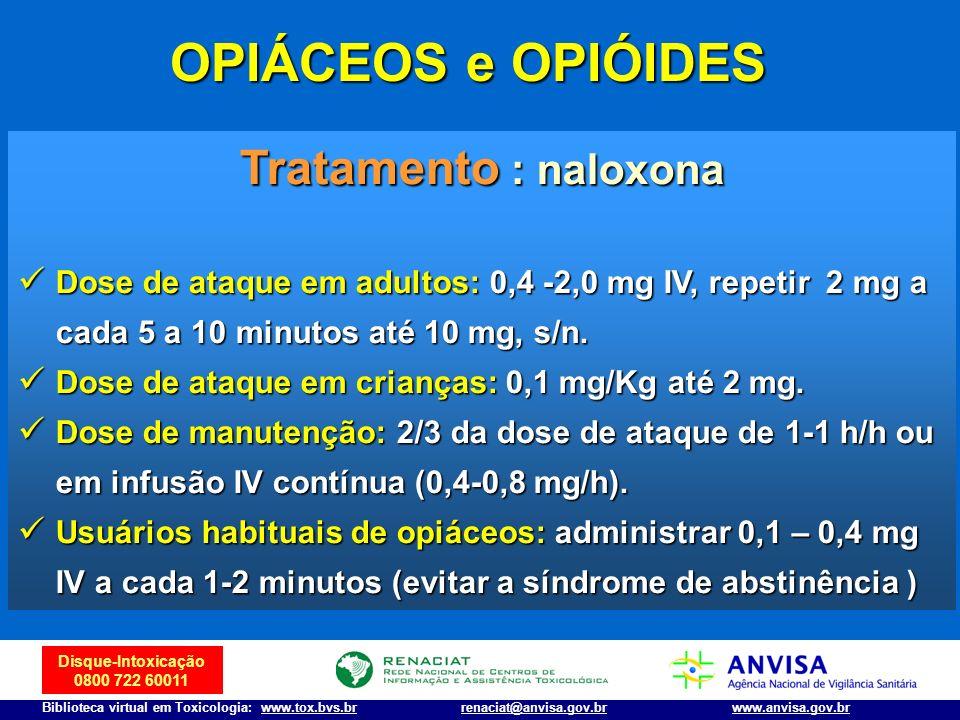 Disque-Intoxicação 0800 722 60011 Biblioteca virtual em Toxicologia: www.tox.bvs.brwww.anvisa.gov.brrenaciat@anvisa.gov.br Tratamento : naloxona Dose